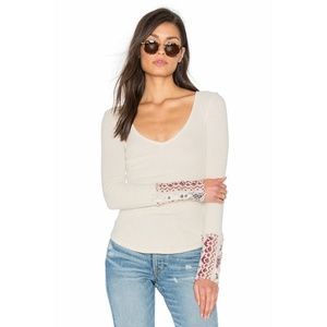 New Free People Art School Cuff Thermal V-Neck Top